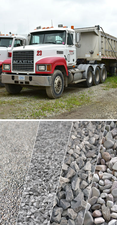 Dahle Enterprises' Dump Trucks lined in a row and a rows of various sized aggregate materials