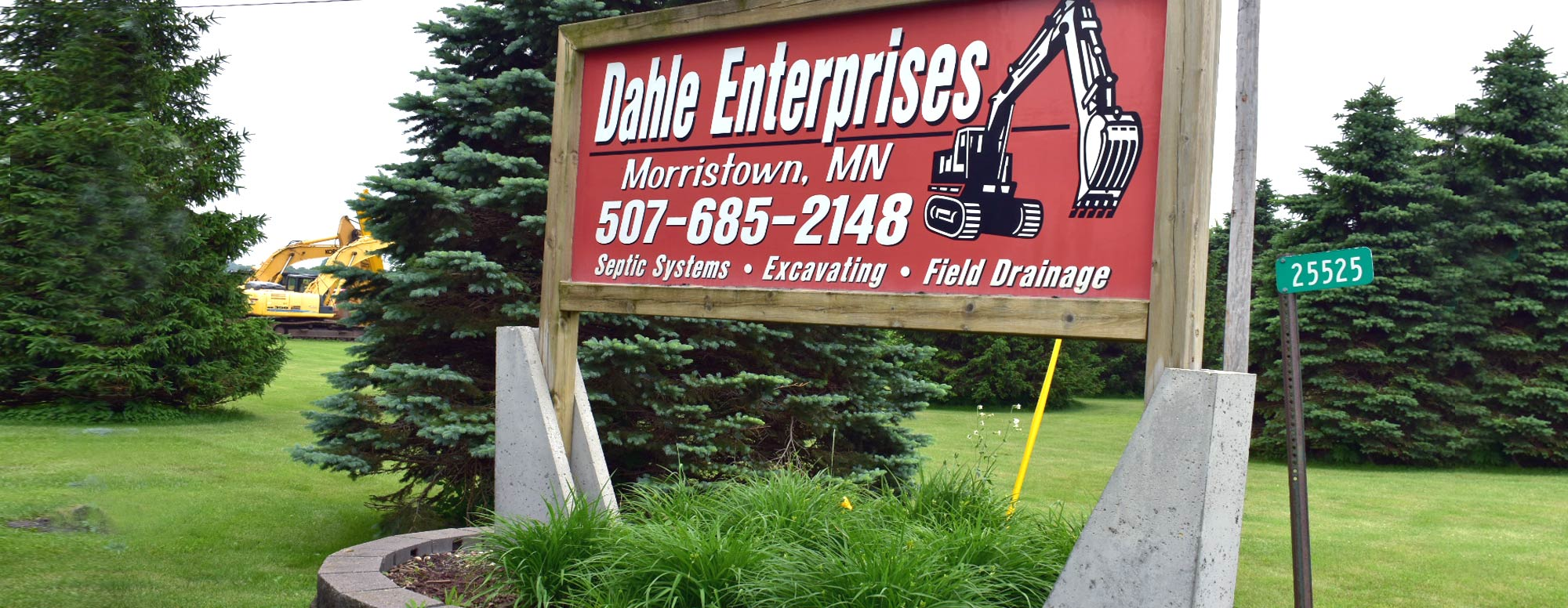 Dahle Enterprises' business welcome sign outside their facility location in Morristown, MN